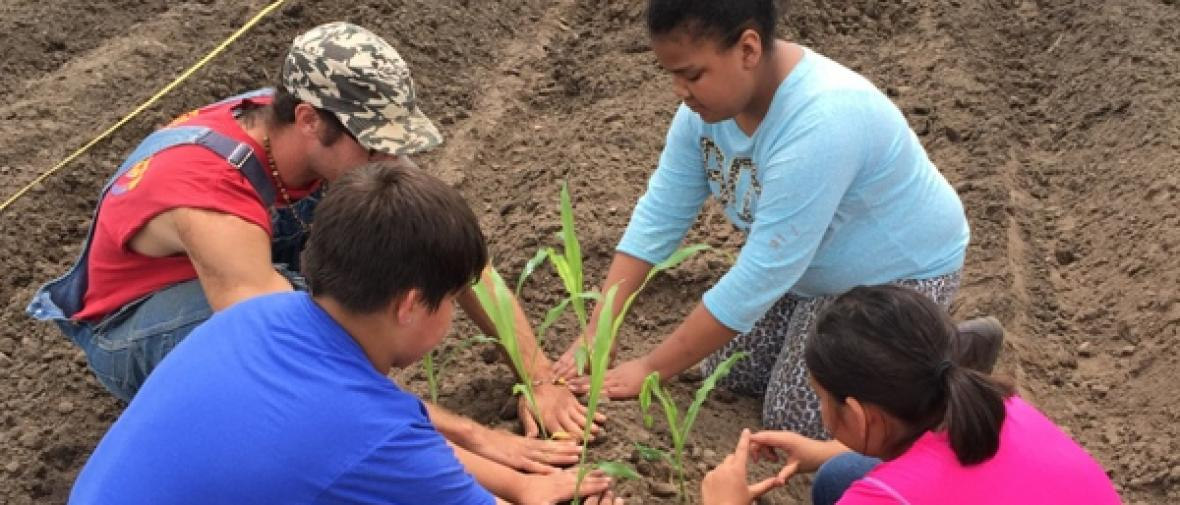 Four Native American children plant seedlings