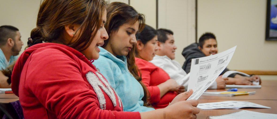 Students studying in classroom